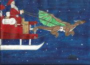 Santa Claus Paintings - Red nosed Dragon pulling Santas sleigh  by Sabrina Bianchi