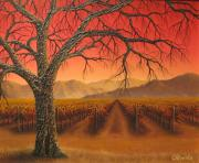 Napa Valley Vineyard Paintings - Red Oak by Patrick ORourke