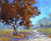 Pallet Knife Painting Prints - Red Oak Print by Yvonne Ankerman