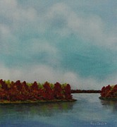 Reflections In Water Pastels Prints - Red Oaks On The River Print by Richard Van Order