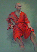 Red Robe Posters - Red On Red Poster by Delores Herringshaw