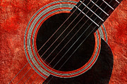 Note Art - Red Orange Guitar by Andee Photography