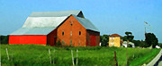 Farm Buildings Painting Originals - Red Orange Yellow by Charlie Spear