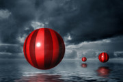 Storm Digital Art Metal Prints - Red Orbs Metal Print by Judi Quelland