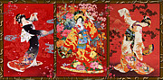 Triple Framed Prints - Red Oriental Trio Framed Print by Haruyo Morita