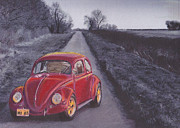 Historic Vehicle Pastels Prints - Red Oxo Print by Sharon Poulton