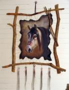 Wolf Tapestries - Textiles - Red Paint by Sandi Baker