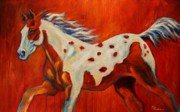 Abstract Horse Paintings - Red Paint by Theresa Paden