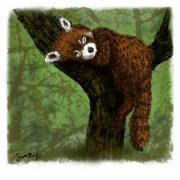 Red Digital Art - Red Panda Napping by Scott Rolfe