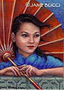 Ethnic Paintings - Red Parasol Girl by Jane Bucci