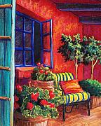 Blue Flowers Pastels - Red Patio by Candy Mayer