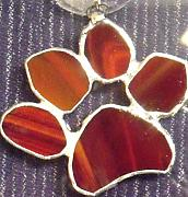 Stained Glass Glass Art Originals - Red Paw  by Djl Leclerc