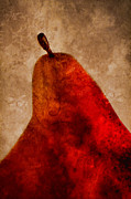 Painterly Photos - Red Pear II by Carol Leigh