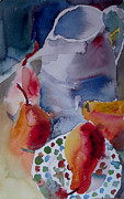 Home Plate Paintings - Red Pears and Blue Jug by Myra  Gallicker