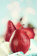 Dreamy Food Photography Prints - Red Pears Print by Stephanie Frey