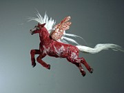 Wild Animal Sculptures - Red Pegasus by Kathy Holman
