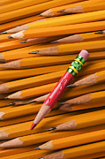 Color Pencils Prints - Red pencil with yellow ones Print by Garry Gay