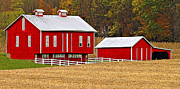Pennsylvania Dutch Photos - Red Pennsylvania Dutch Barn and White Fence by Brian Mollenkopf
