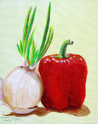 Blooming Paintings - Red Pepper and Onion by Pauline Ross