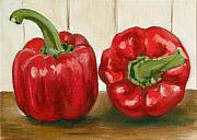 Pepper Painting Metal Prints - Red Pepper Metal Print by Sarah Lynch