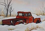 Snow Covered Pastels Prints - Red Pickup Print by Tracey Hunnewell