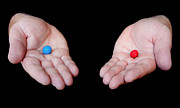 Blockbuster Prints - Red Pill Blue Pill Print by Semmick Photo