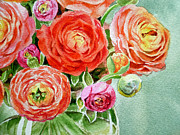 Ranunculus Paintings - Red Pink and Gorgeous by Irina Sztukowski