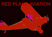 Passenger Plane Art - Red Plane Aviation by David Lee Thompson