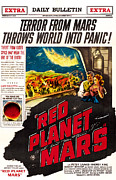 1950s Poster Art Framed Prints - Red Planet Mars, Top From Left Peter Framed Print by Everett