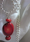 Science Fiction Jewelry - Red Planets Necklace by Janet  Telander
