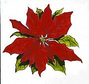 Red Art Ceramics Posters - Red Poinsettia Poster by Dy Witt