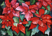 Poinsettias Paintings - Red Poinsettias by Leah Wiedemer