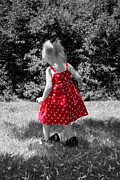 Little Girl Prints - Red Polka Dot Dress And Mommys Shoes Print by Tracie Kaska