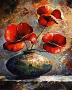 Green And Red Colored Paintings - Red Poppies 02 by Emerico Toth