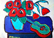 Abstract Composition Paintings - Red Poppies And Guitar  by Ana Maria Edulescu