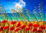 Sun Rays Painting Posters - Red Poppies and Sea Oats by the Sea Poster by Patricia L Davidson