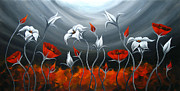Landscape Greeting Cards Painting Framed Prints - Red Poppies and Tulip Framed Print by Uma Devi