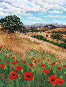 Tuscan Hills Framed Prints - Red Poppies and Wild Rye Framed Print by Laura Iverson