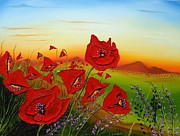 James Dunbar - Red Poppies At Dusk 1