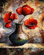 Green And Red Colored Paintings - Red Poppies by Emerico Toth