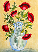 Leaves Paintings - Red Poppies in a Vase by Kimberlee Weisker