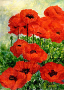 K Joann Russell Art - Red  Poppies in Shade Colorful Flowers Garden Art by K Joann Russell