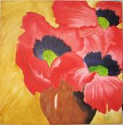 Vase Pastels Prints - Red Poppies Print by Maris Sherwood