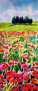 Therese Fowler-bailey Prints - Red Poppies of Tuscany  PrintS for Sale Print by Therese Fowler-Bailey