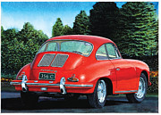 Porsche Prints - Red Porsche 356C Print by Rod Seel