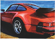 Whale Painting Framed Prints - Red Porsche 930 Turbo Framed Print by Rod Seel