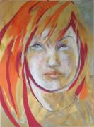 Iridescent Painting Posters - Red Portrait Poster by Michael Clifford Shpack