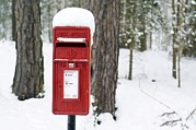 Post Box Framed Prints - Red Post Box In The Snow Framed Print by Duncan Shaw