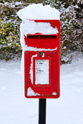 Letter Box Framed Prints - Red postbox in the snow Framed Print by Richard Thomas