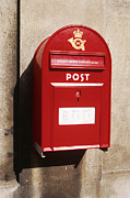 Wall-mounted Posters - Red Postbox Mounted on Wall Poster by Jeremy Woodhouse